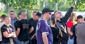 Maik Schneider auf einer neonazistischen Demonstration am 25.08.2013 in Berlin-Hellersdorf (Bildquelle: René Strammber)