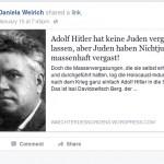 Daniela Weirich leugnet die Schoah - eine von vielen neonazistischen Bekundungen ihrerseits